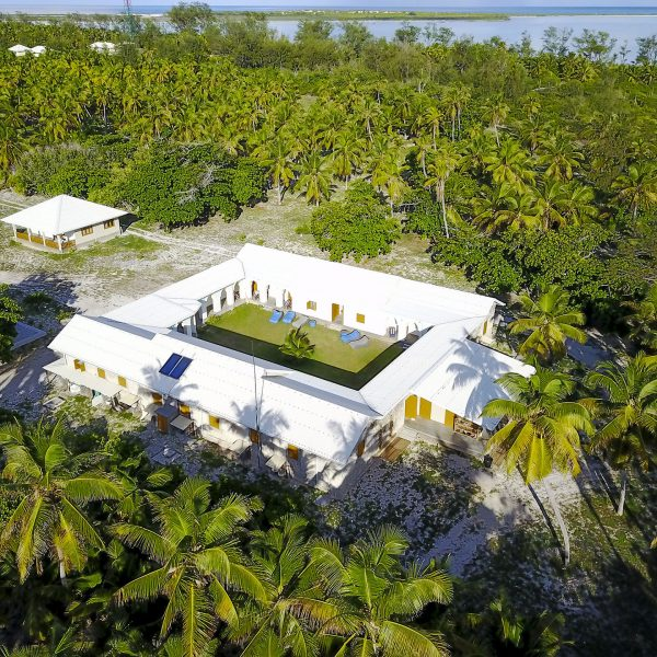 Aerial view of Astove Coral House Blue Safari Seychelles