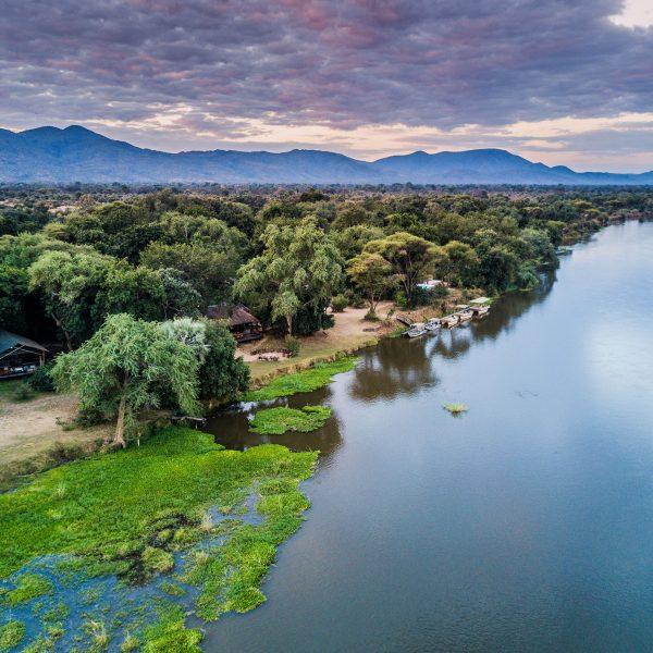 Aerial view of Chiawa Camp along the Zambezi River
