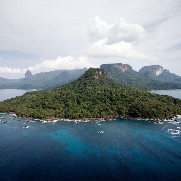 An aerial view of Príncipe Island