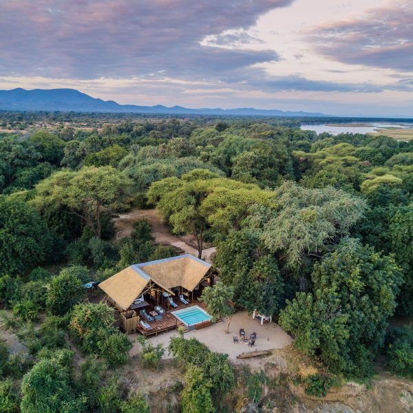 An aerial view of the Safari Suite at Chiawa Camp