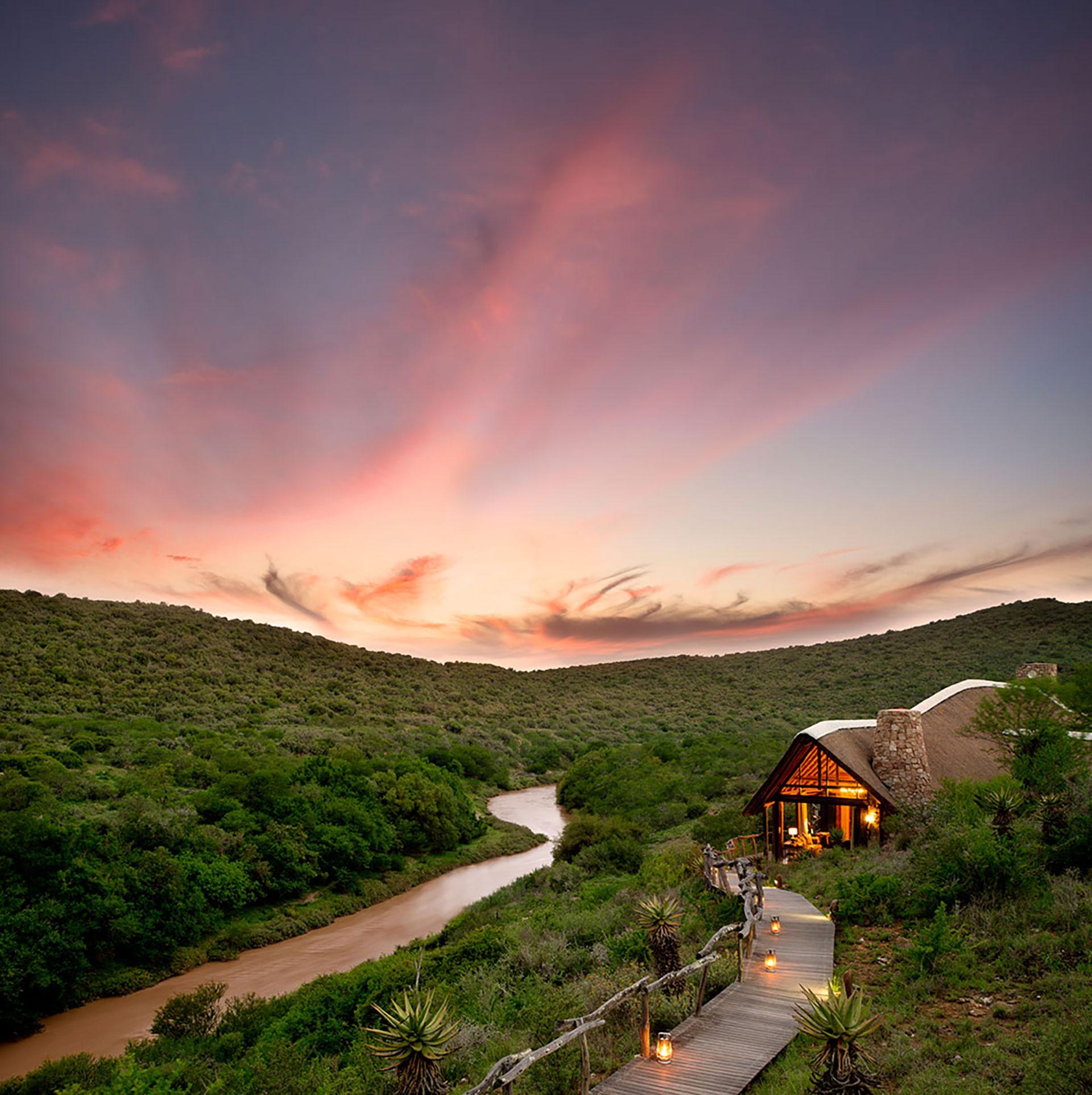 Sun setting over Great Fish River Lodge