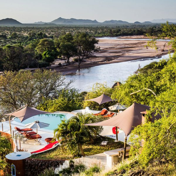 The main area of Sasaab overlooks the river below and the Laikipia Plateau in the distance