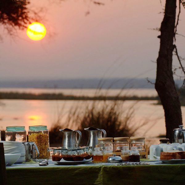 A breakfast spread as the sun rises