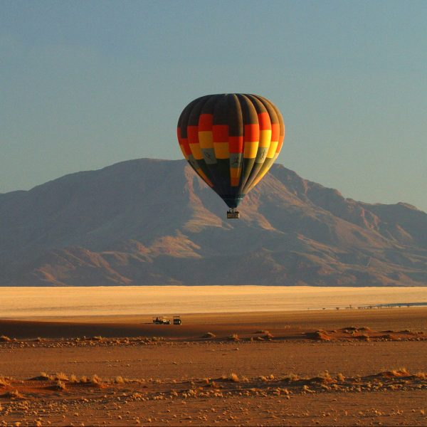 A hot air balloon over the reserve