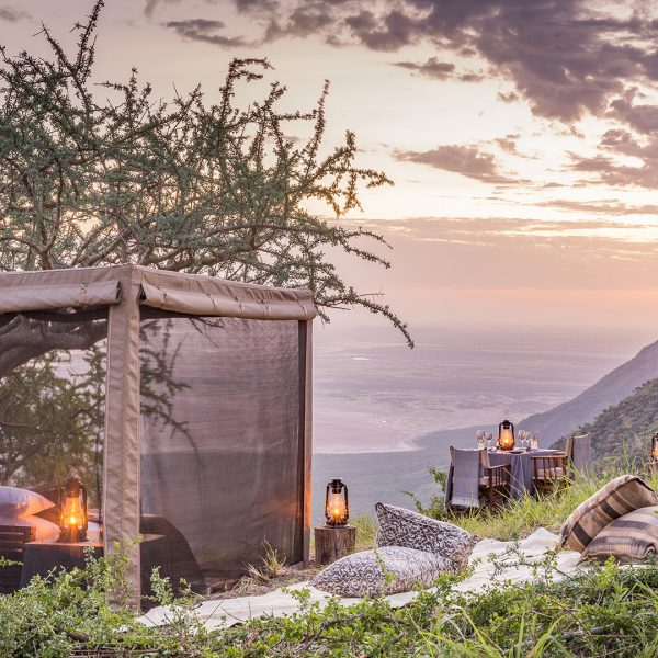 The Flycamp is setup on the top of a rocky outcrop, offering sweeping views of the valley below