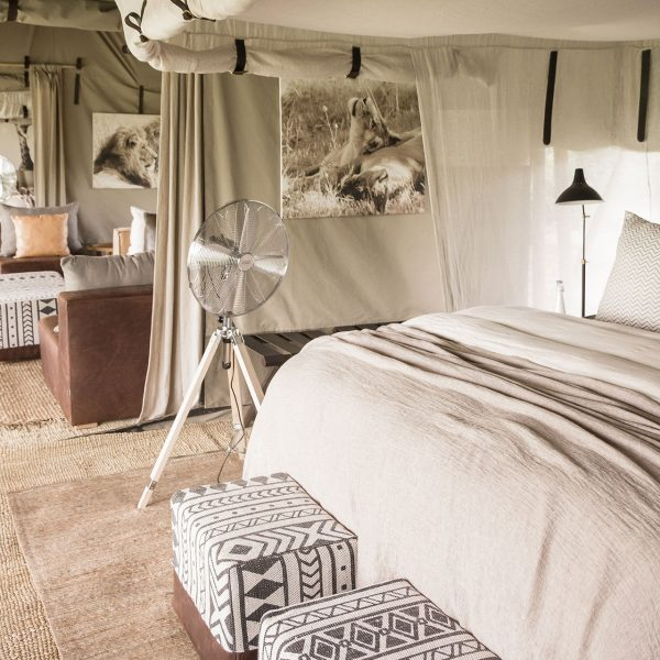 The family suite at Mila Tented has a main room and twin bedded room with a lounge in between
