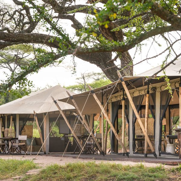 The main are of Mila Tented with a dining room and lounge, all under canvas and open to the surroundings