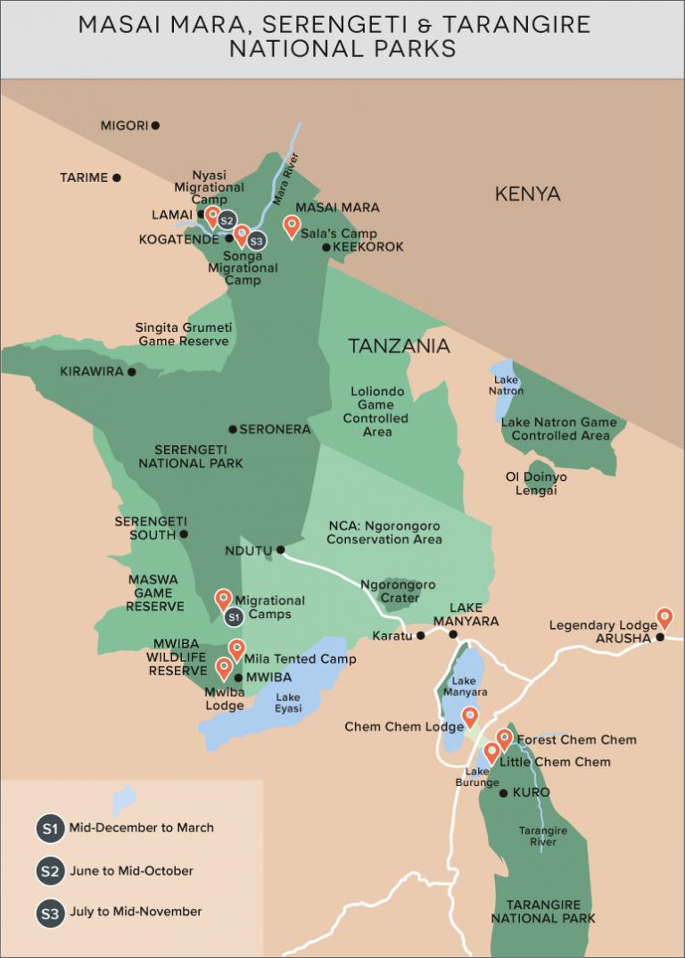Masai Mara, Serengeti & Tarangire National Parks