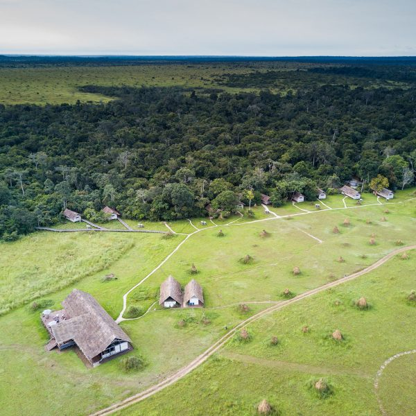 Aerial view of Mboko Camp, set amongst the trees