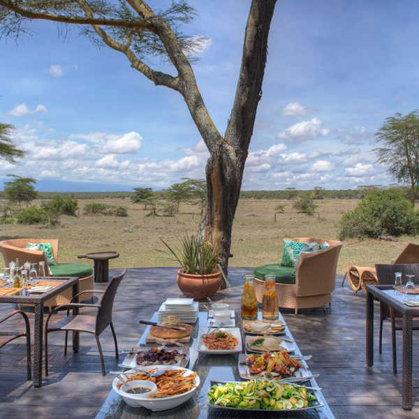 The outdoor deck of Solio Lodge set up with loungers, tables, and chairs, as well as a fresh lunchtime spread