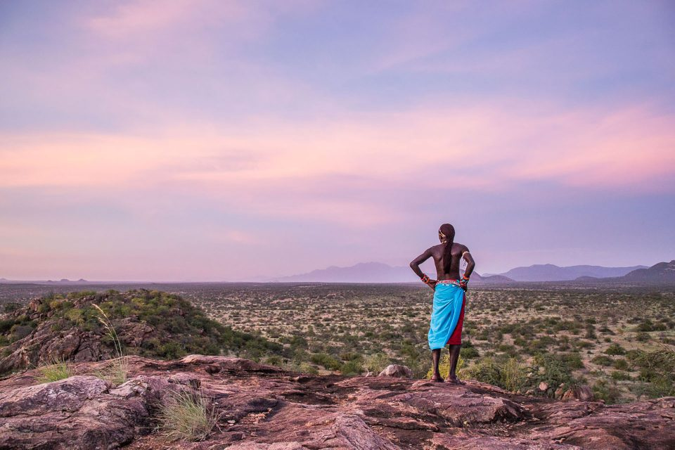 Glorious colours as the sun sets over the Samburu landscape at Sasaab